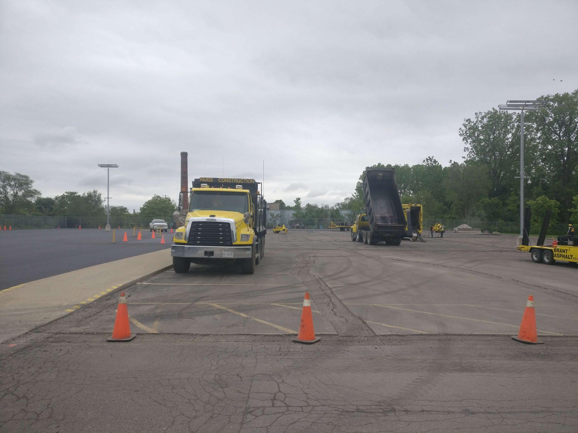Trucks on construction site