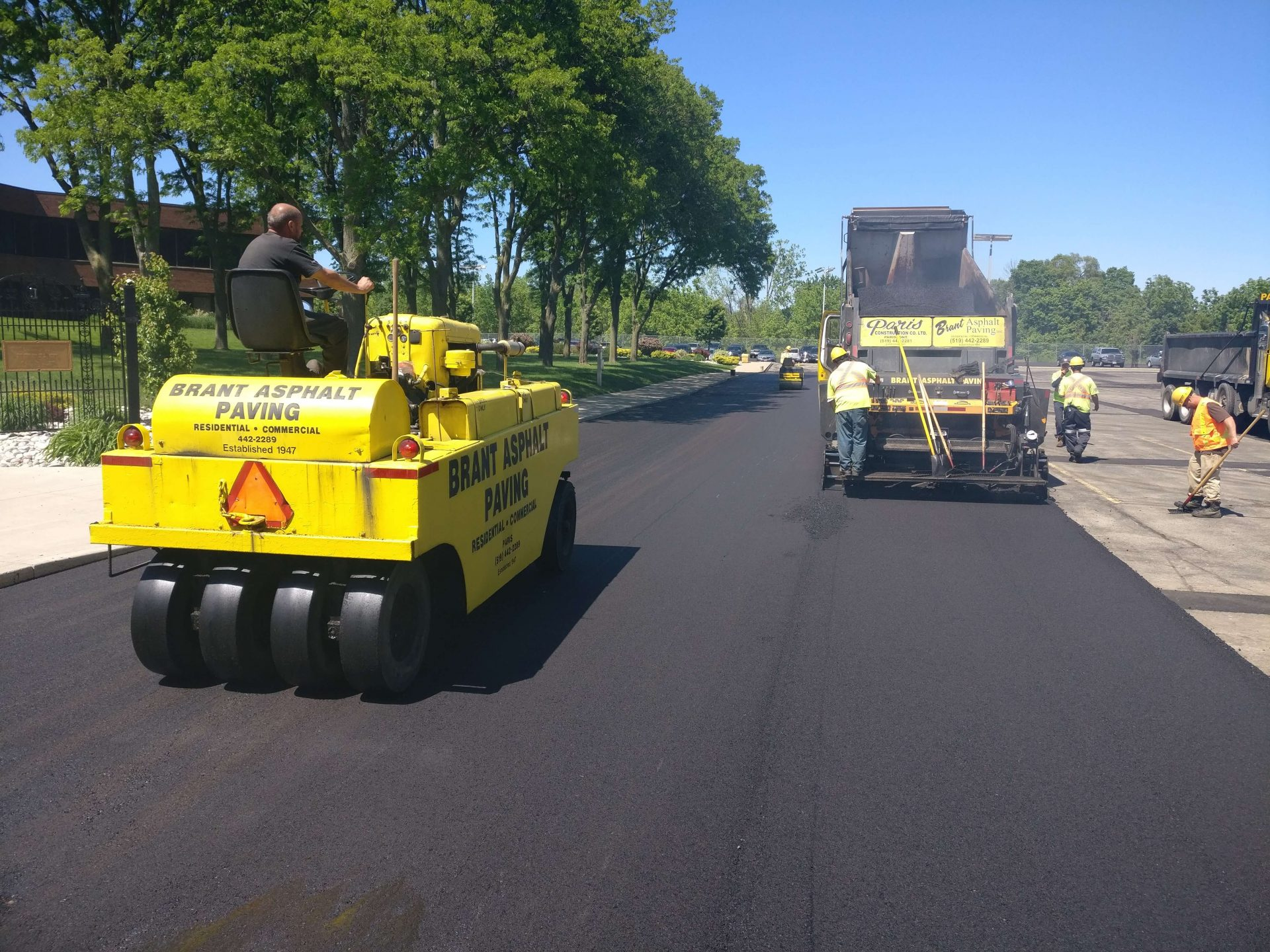 Brant Asphalt Paving roller on fresh asphalt