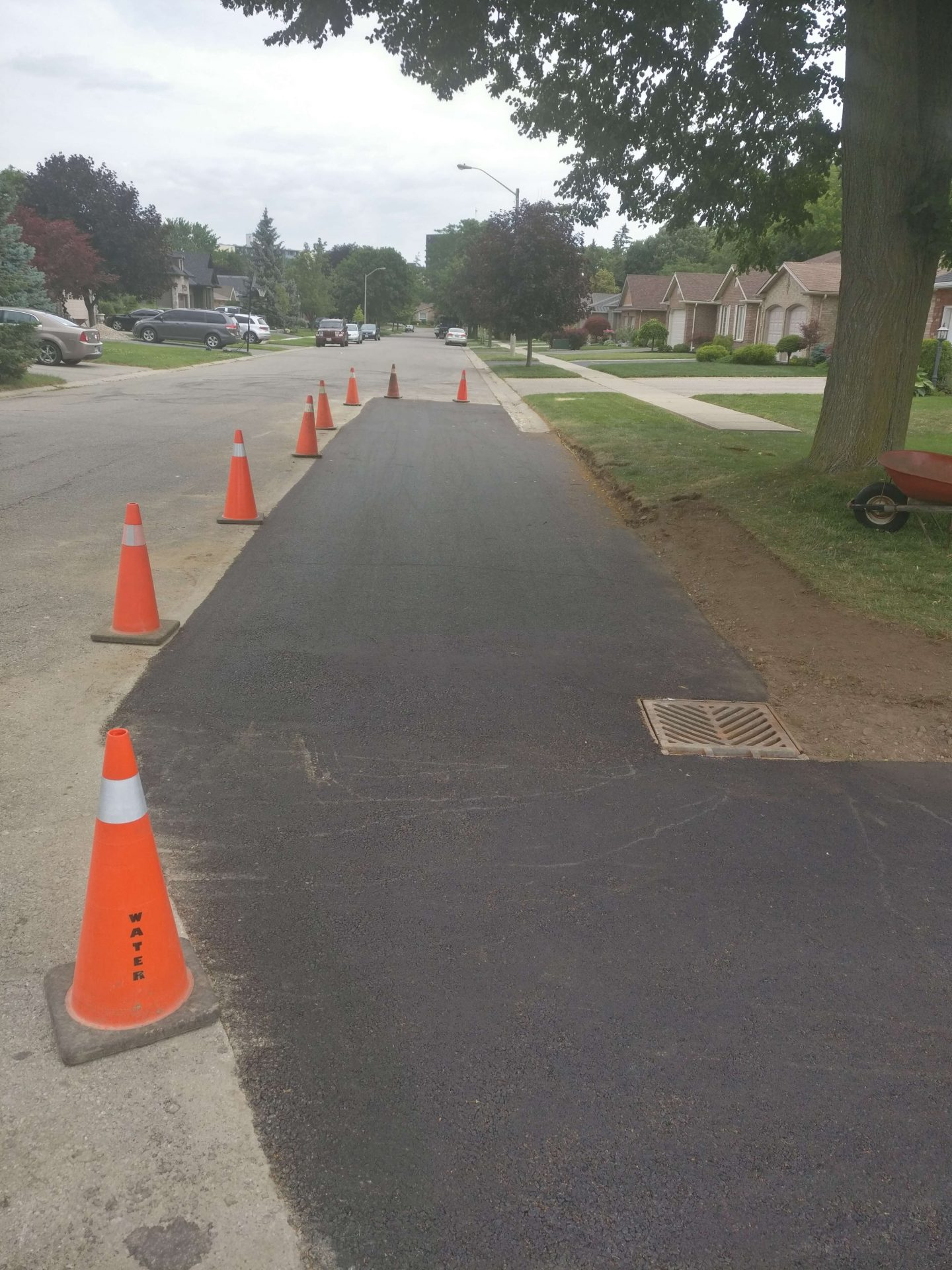 Paved section marked by pylons