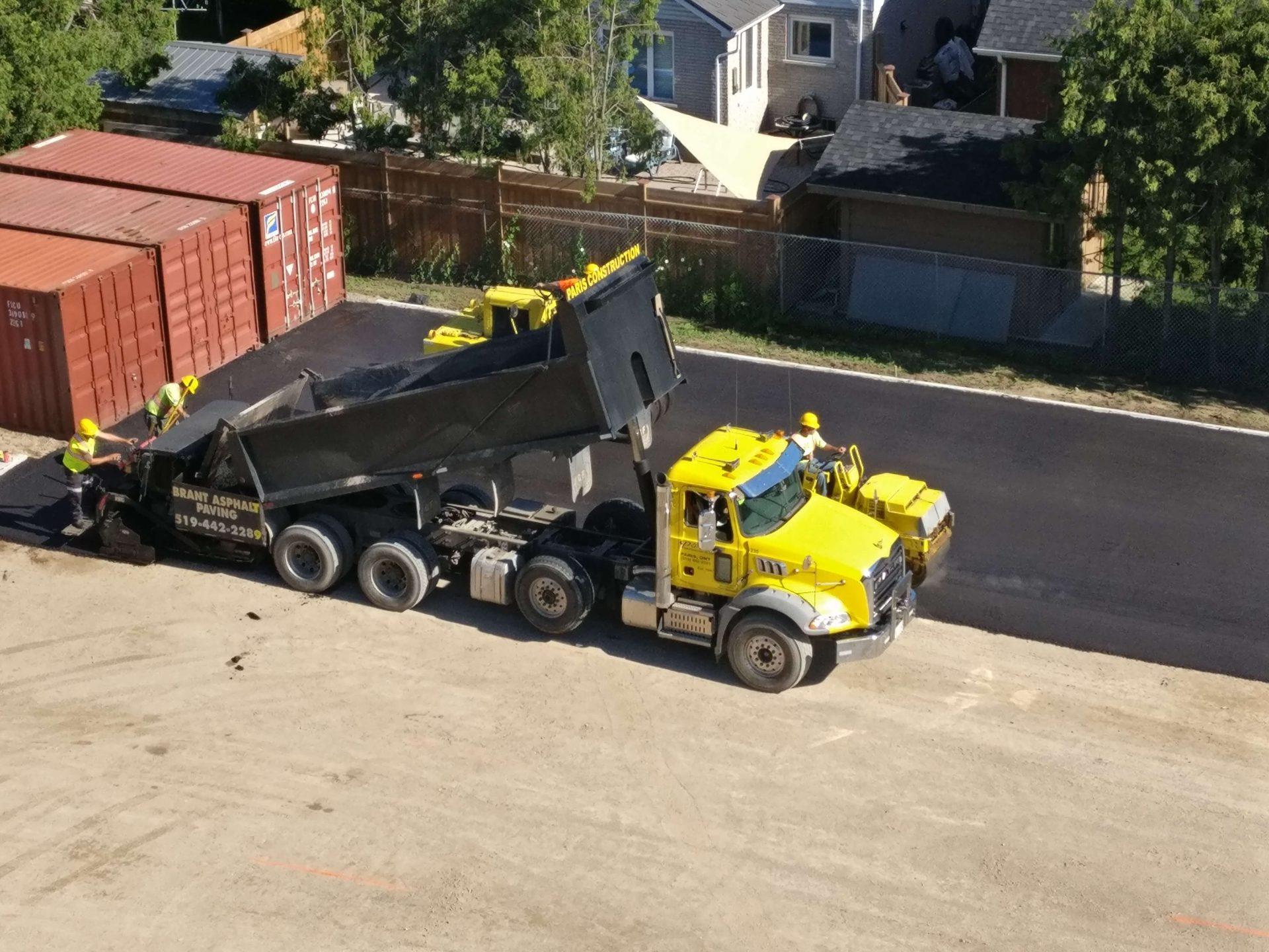 Paris Construction Asphalt truck in parking lot