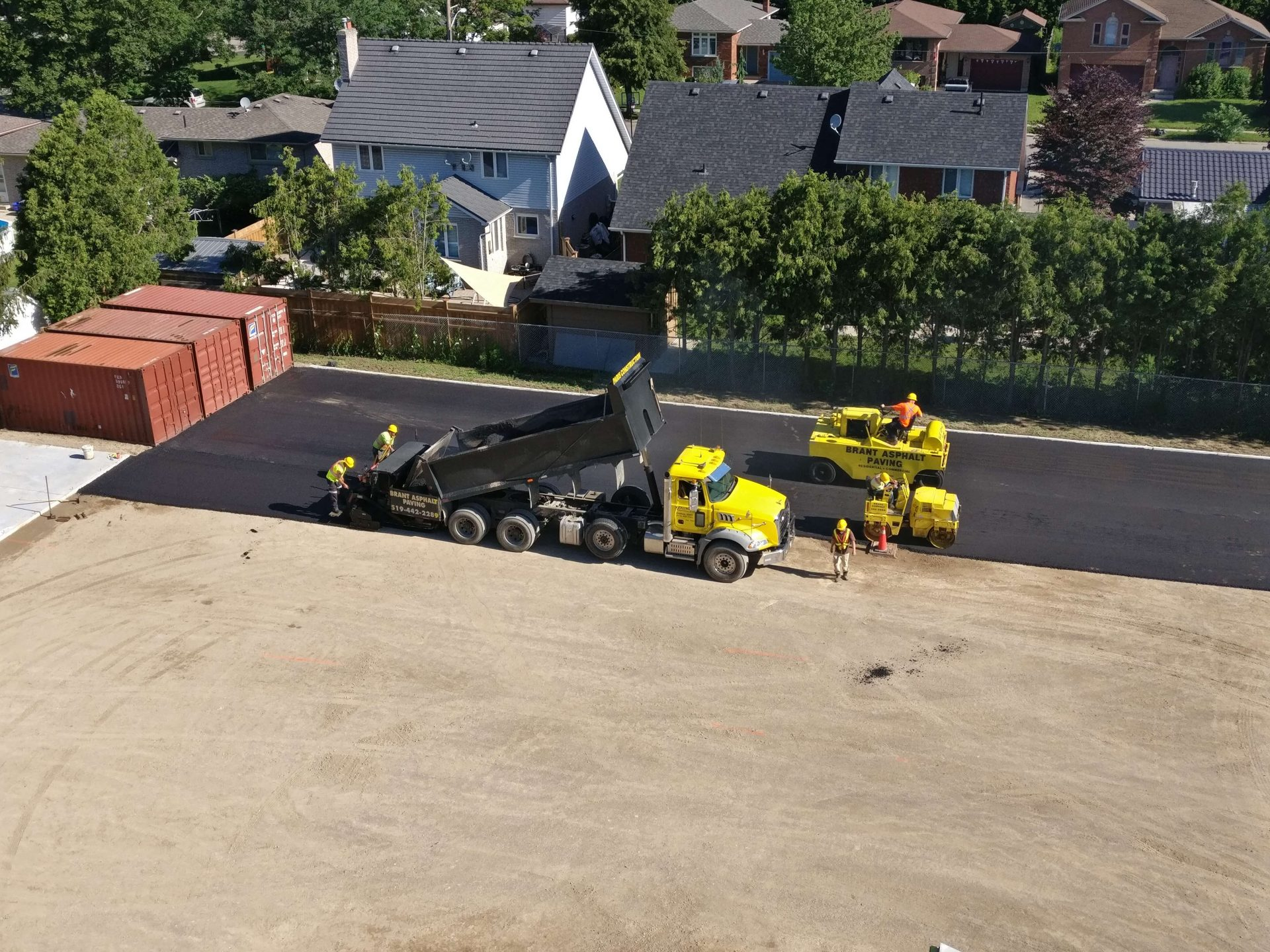 Partially Completed portion of paved back parking lot