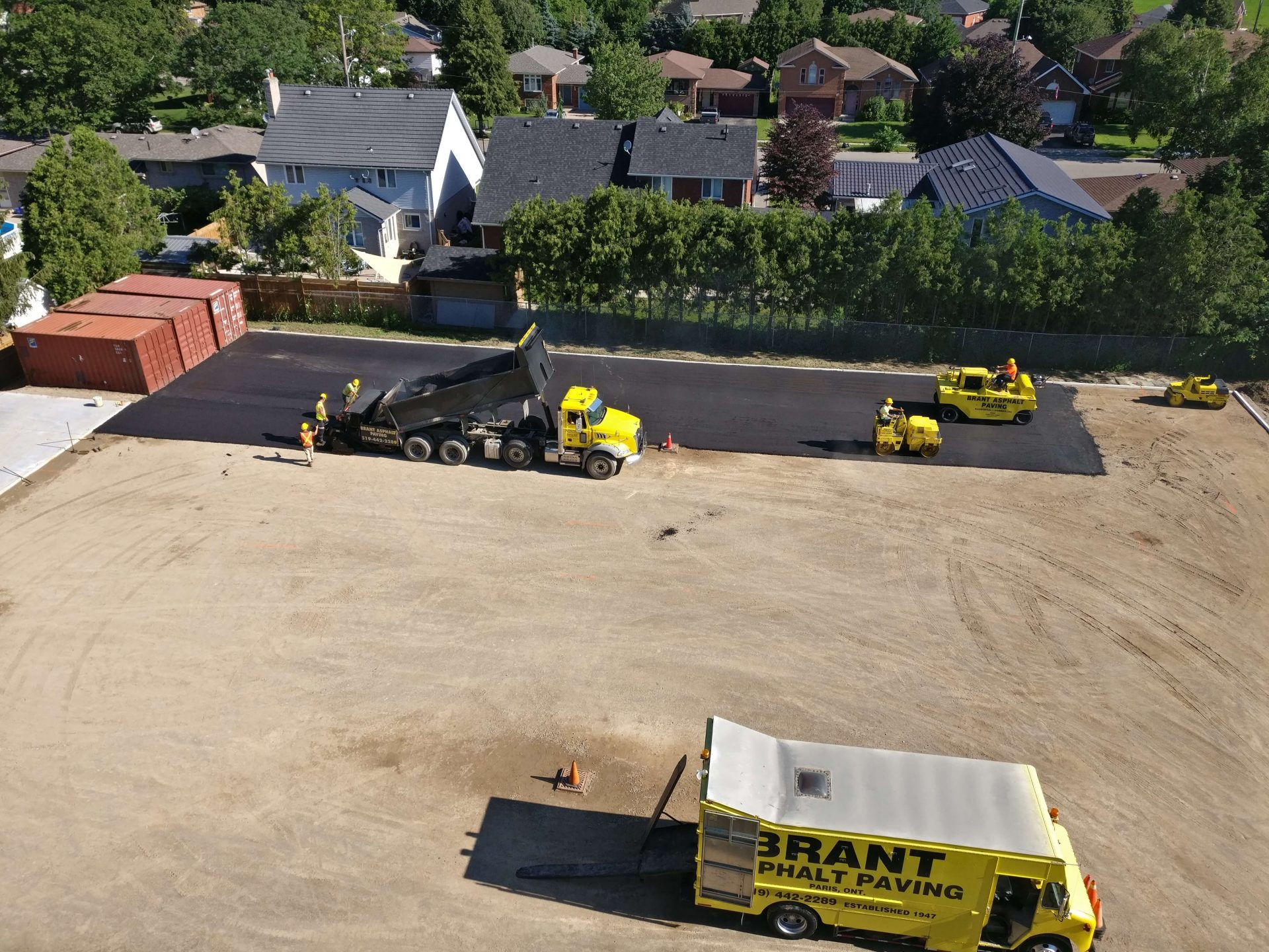 Progress pictures of paved parking lots