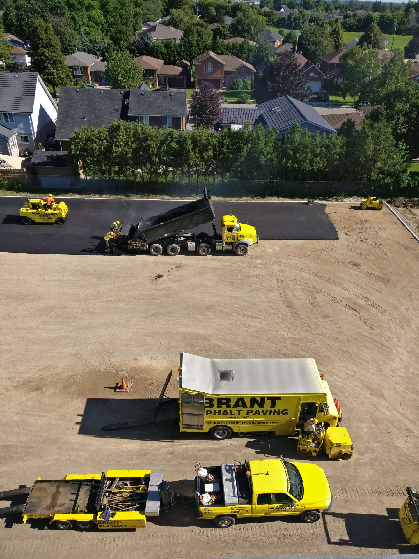 Paris Construction trucks on new parking lot