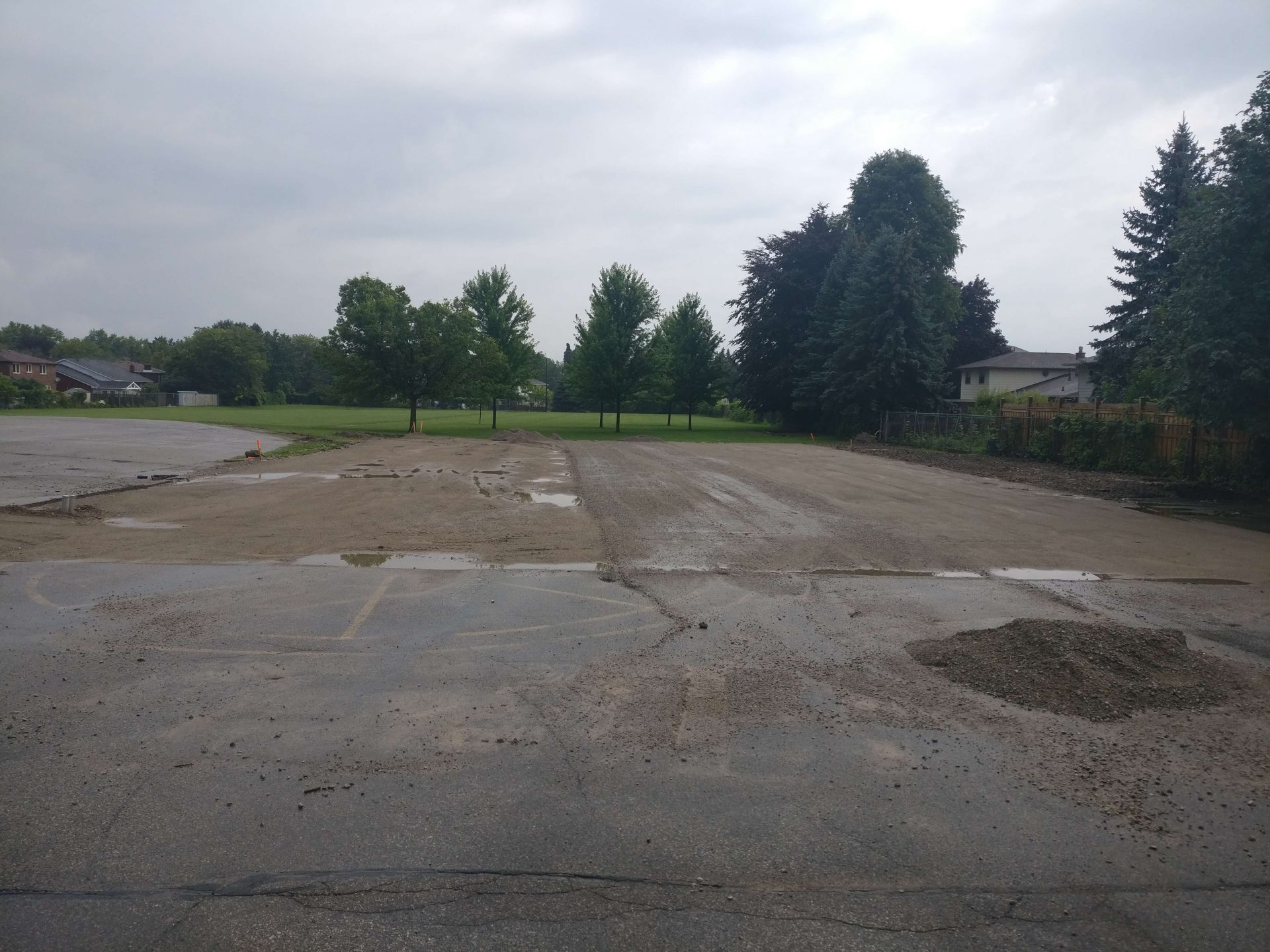 unfinished gravel parking lot