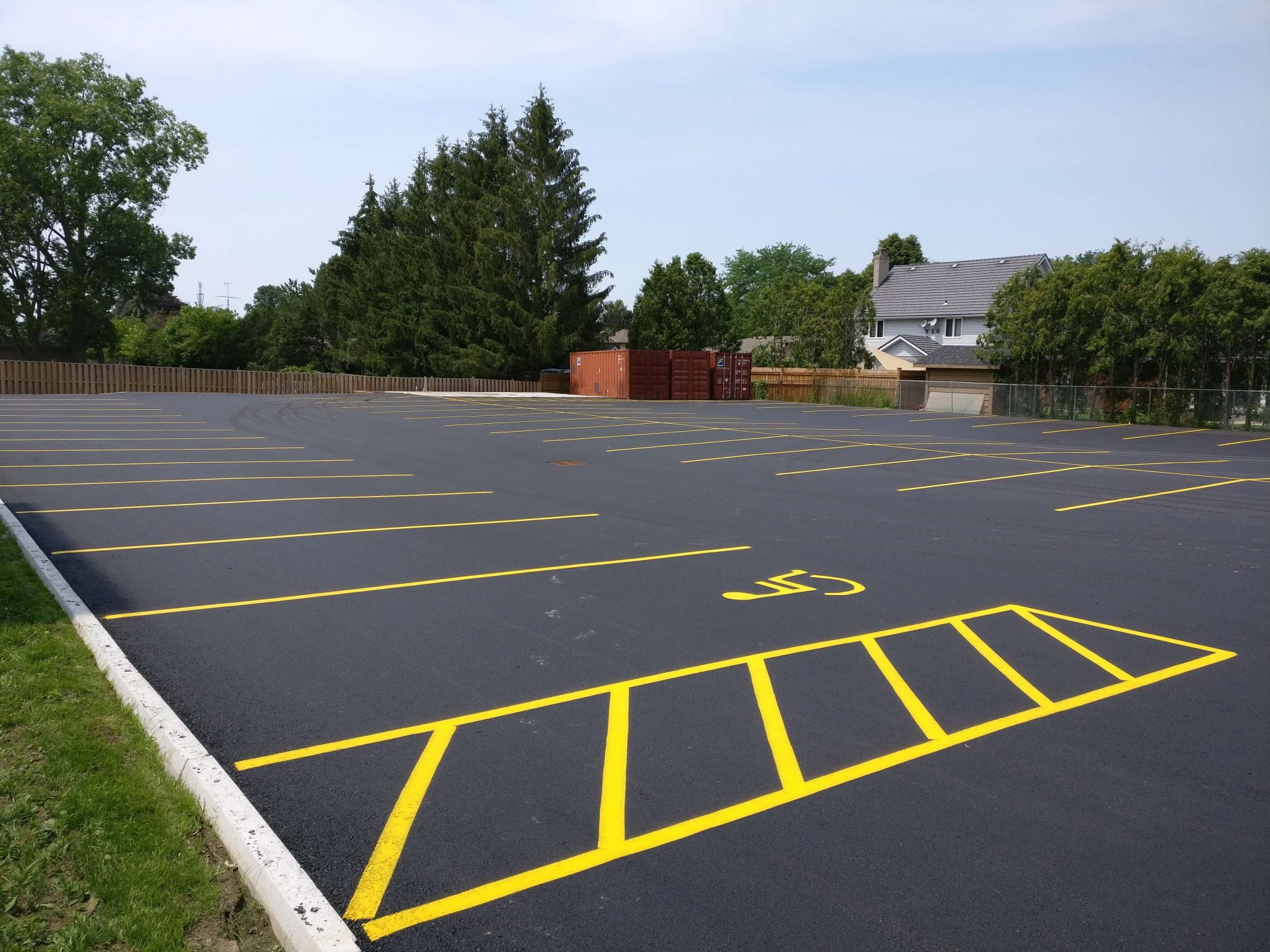 parking lot with yellow grid