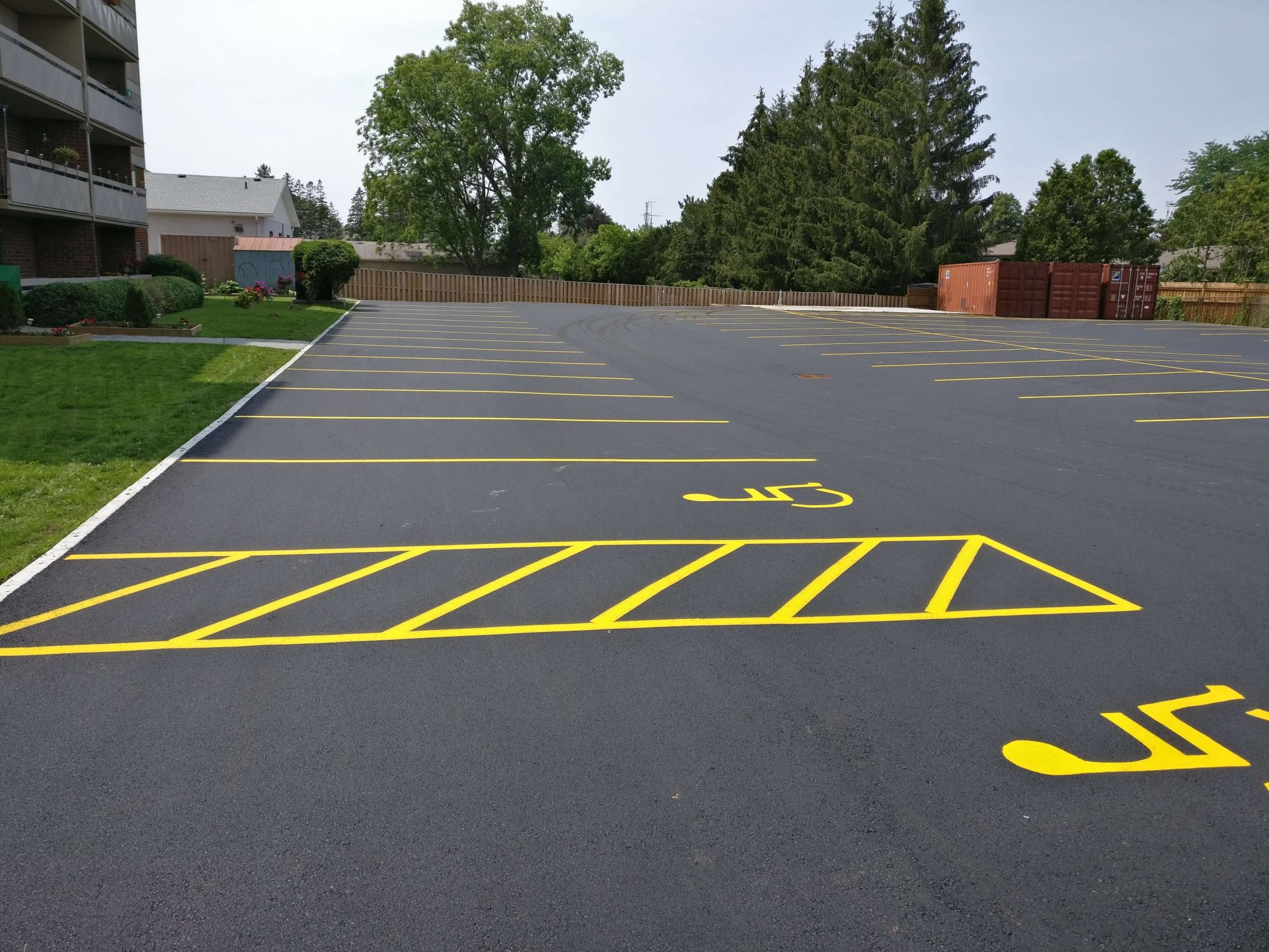 Paved handicap spaces