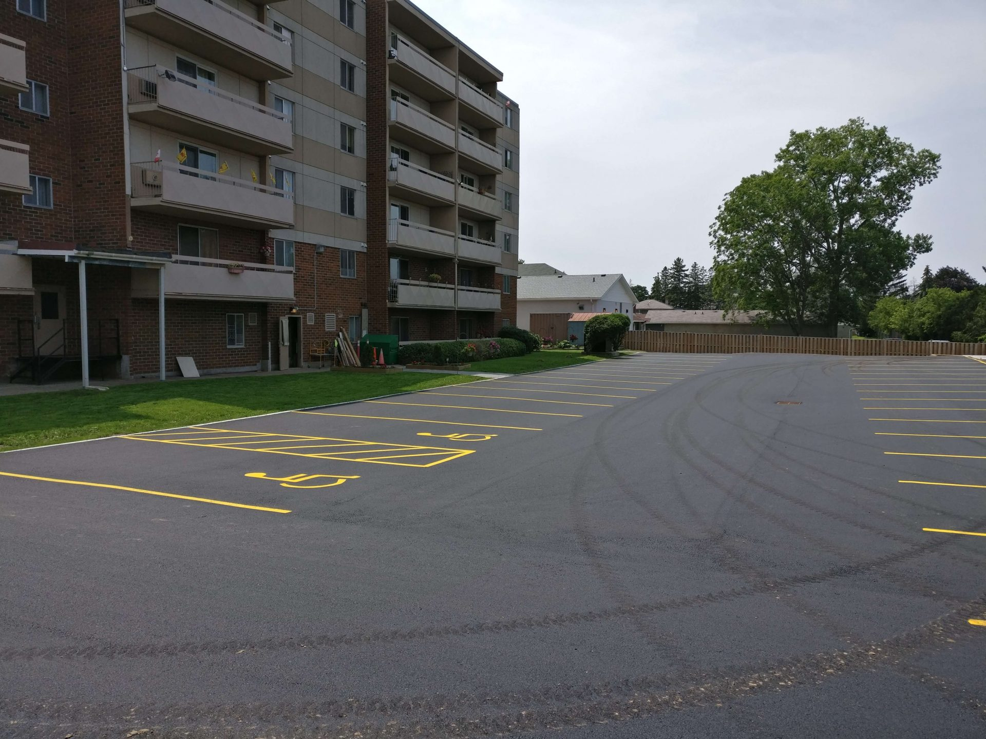 Paved parking lot for apartment building