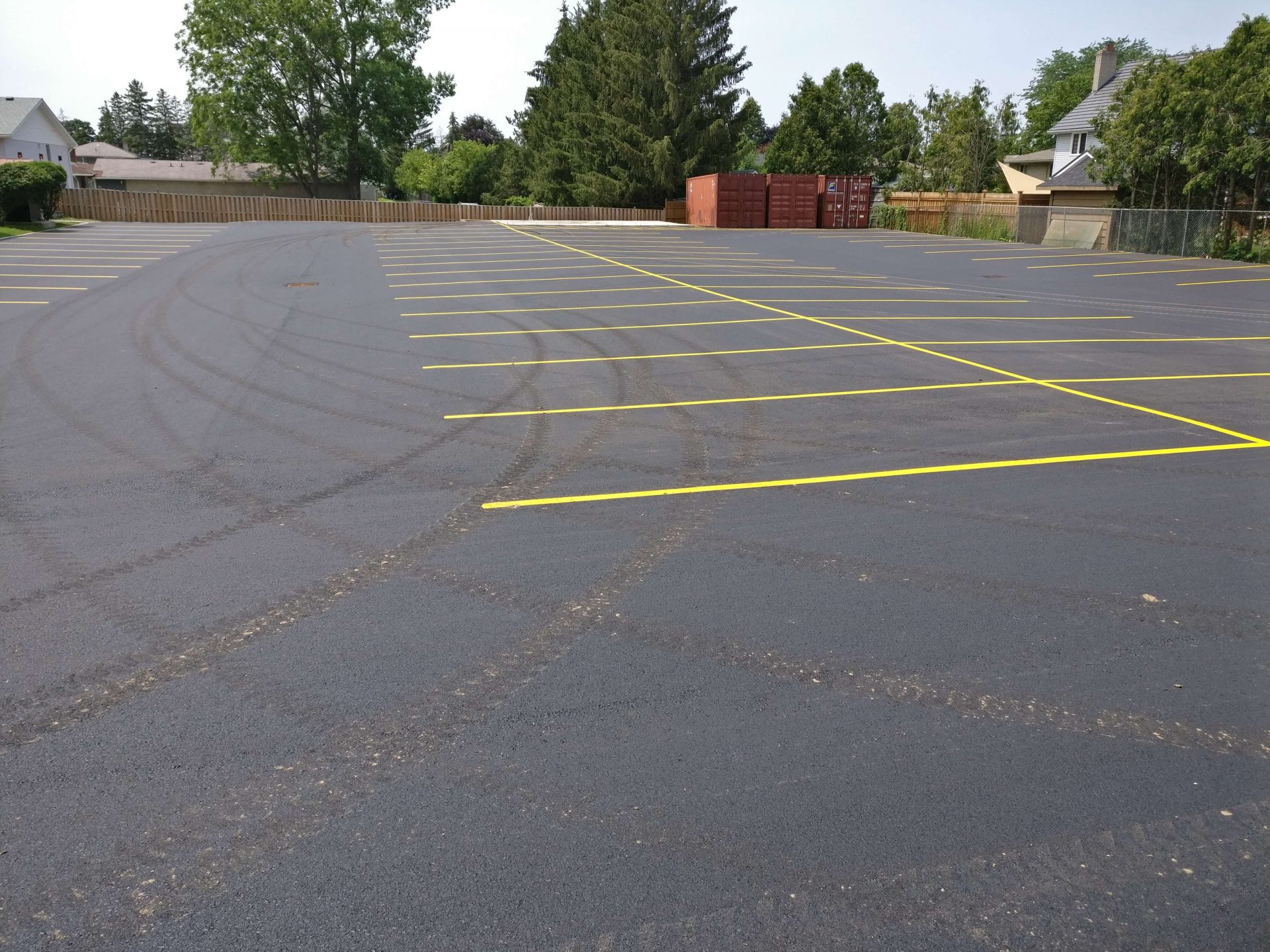 close up view of paved parking lot