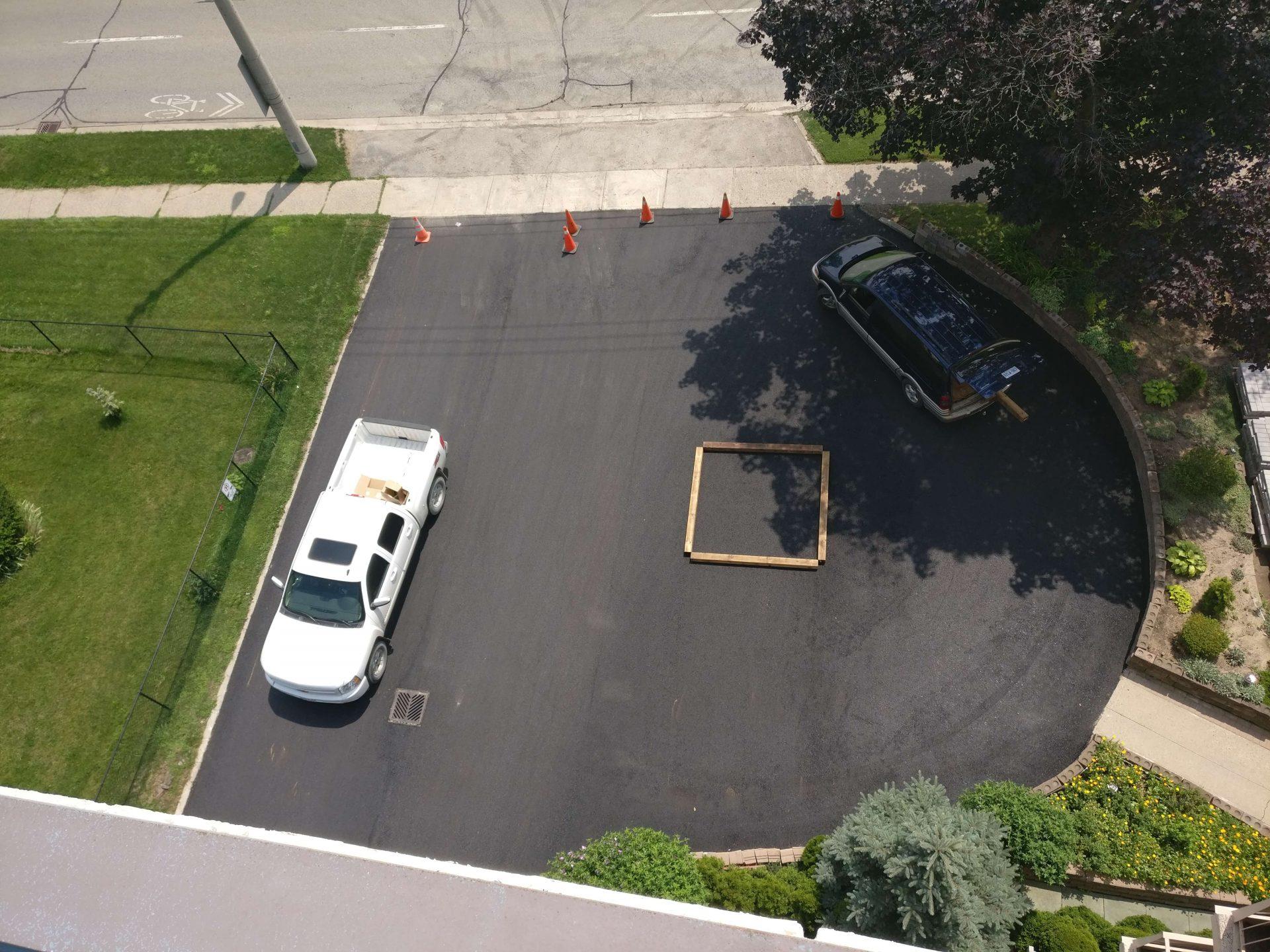 semi-circle asphalt paving