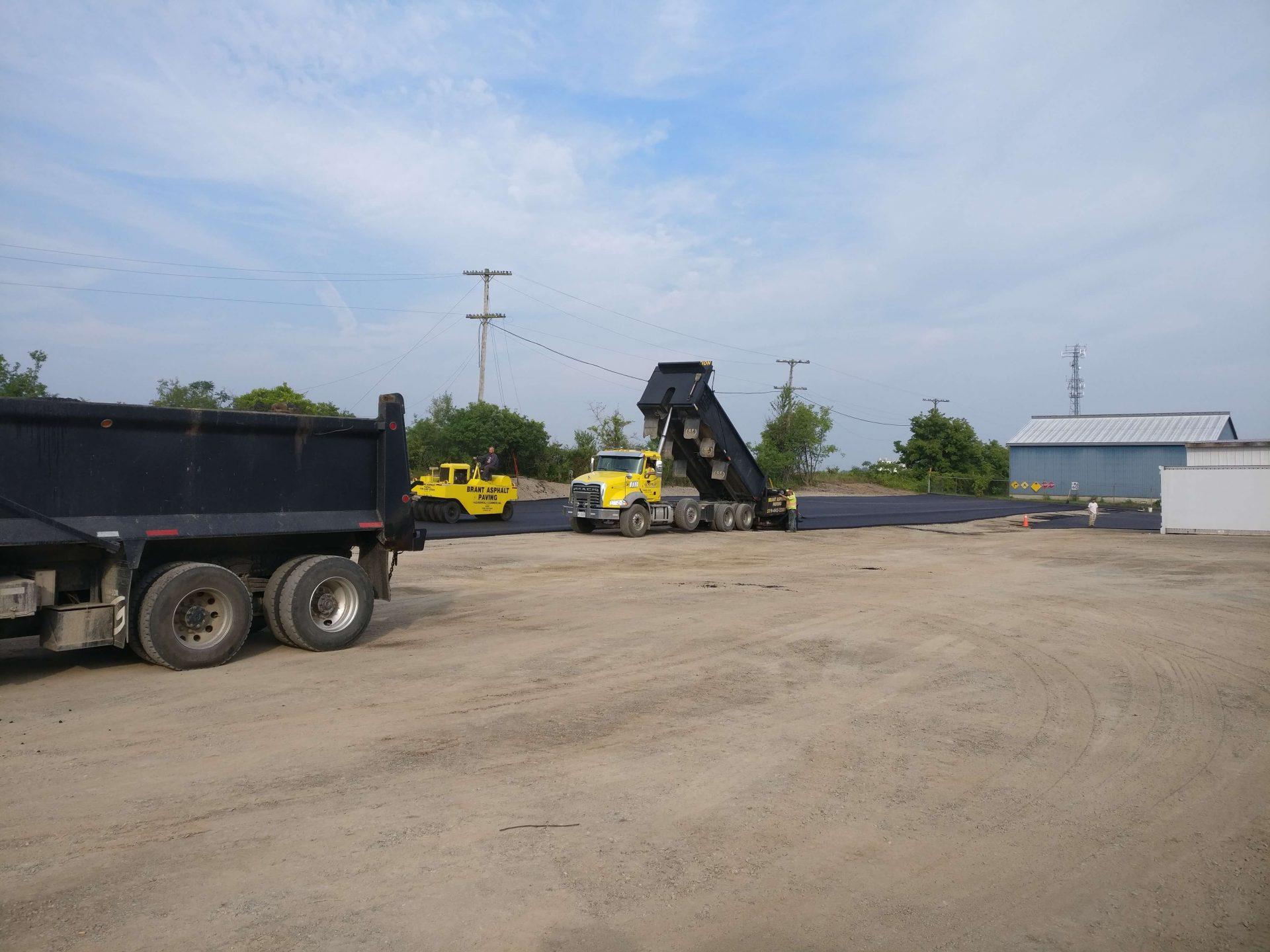 truck dumping asphalt