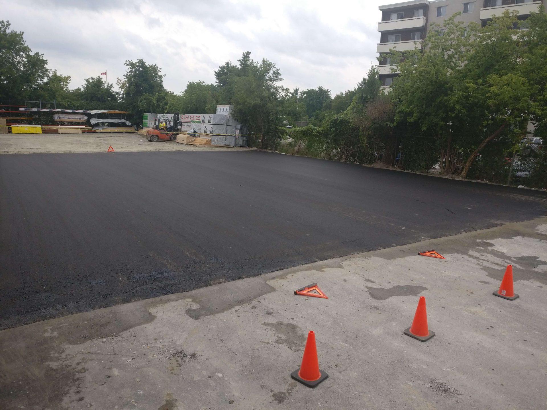 paved asphalt with pylons