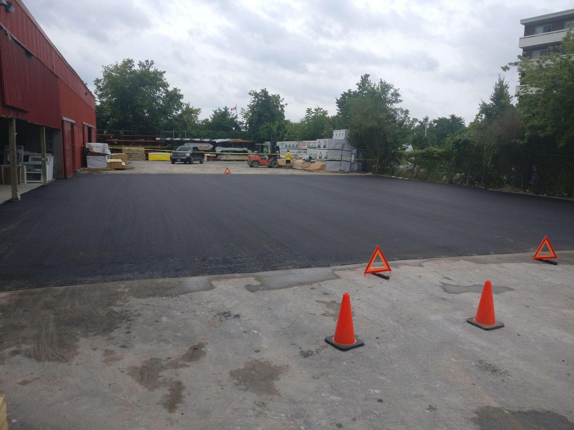 finished paved asphalt lot