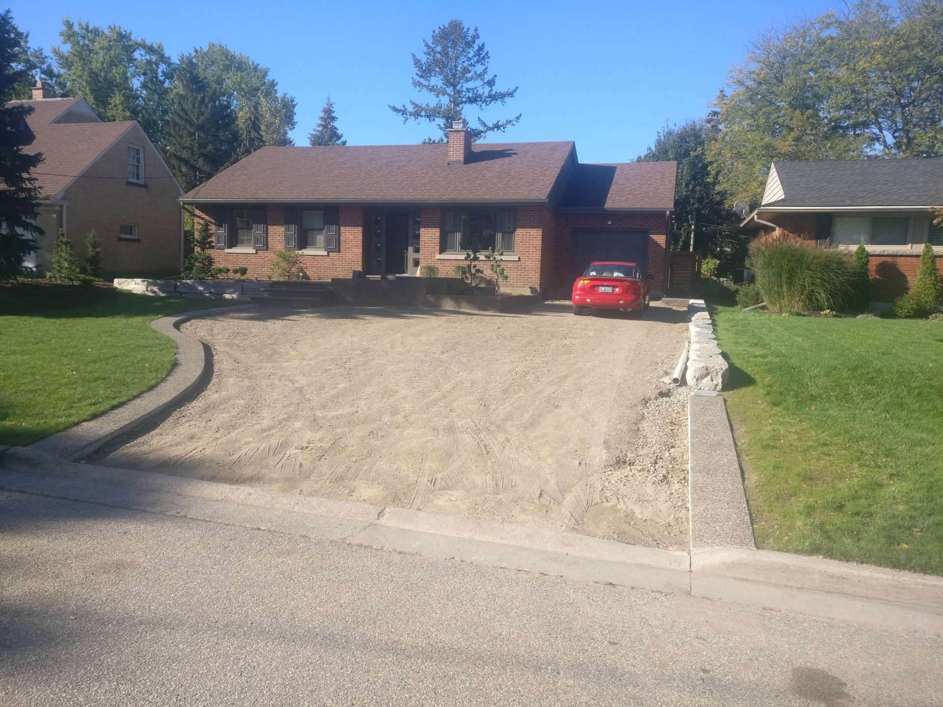 Unpaved gravel driveway